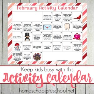February Preschool Activity Calendar