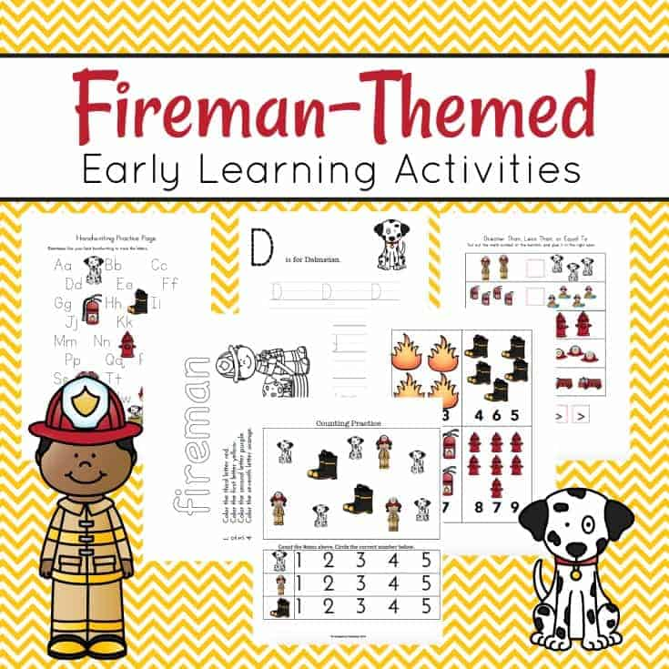Talk about fire safety and community helpers with this printable pack about firemen. These Firefighter printables feature early math and literacy activities.