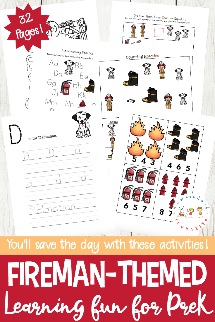 Talk about community helpers with this printable pack about firemen. These free firefighter printables feature early math and literacy activities.