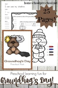 Whether you're a fan of the cold weather or not, your preschoolers will have so much fun with this brand new groundhog-themed learning pack! | homeschoolpreschool.net