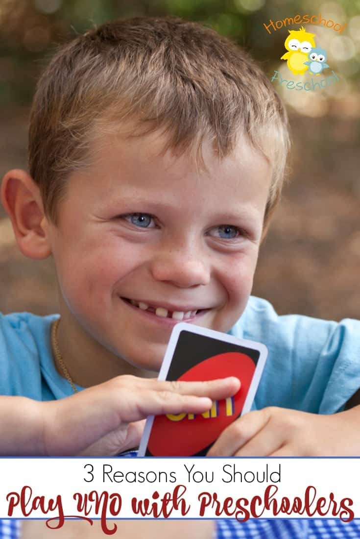 UNO is a fun and lively game. Come discover three reasons why you should include your preschoolers in your next UNO game! @homeschlprek
