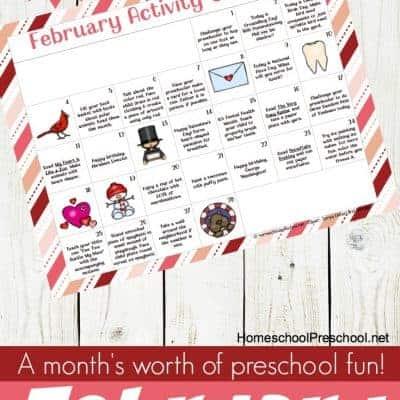 February Tot and Preschool Activity Calendar