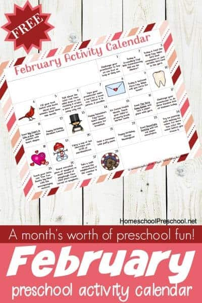 A free preschool activity calendar for February! Celebrate holidays and special days with books, printables, and hands-on activities for little ones.