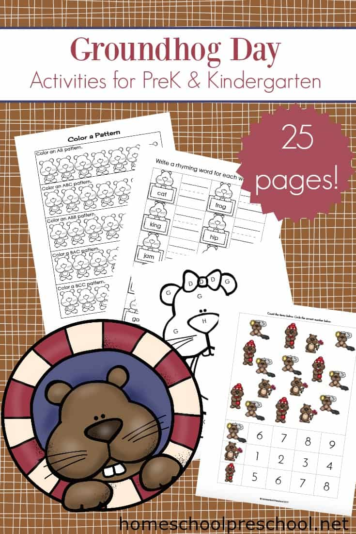 Groundhog Day is just around the corner. Your little ones will love this free printable pack of Groundhog Day activities for preschoolers!