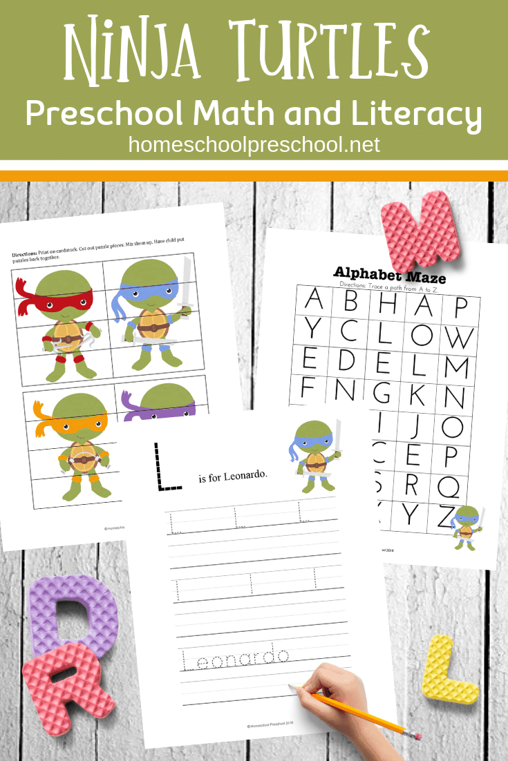 Your kids will beg for these Ninja Turtle printables! This worksheet set is packed full of early math and literacy activities for preschoolers.