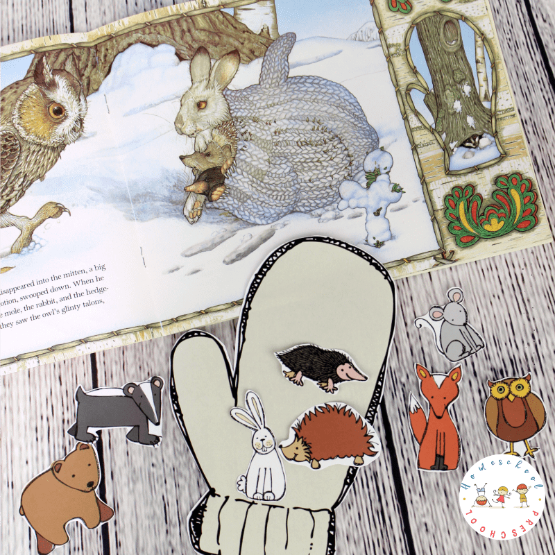 Do your kids love Jan Brett books? If so, they're going to love this The Mitten story printable and hands-on activity! Perfect for winter homeschool lessons!