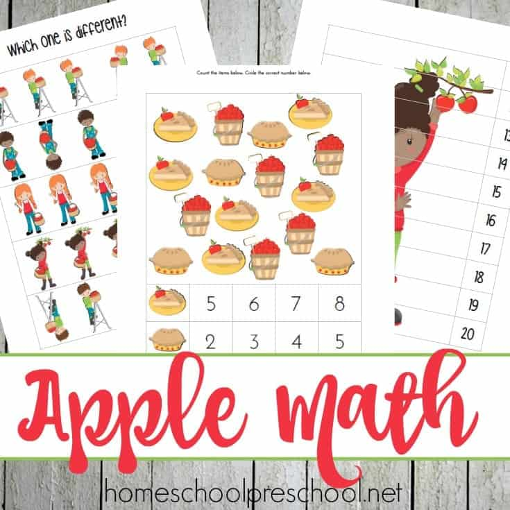 This apple-themed unit study is designed with your preschooler in mind! It's packed with fun hands-on activities, snack ideas, arts and crafts, books, videos, and a 35-page printable learning pack! | @homeschlprek