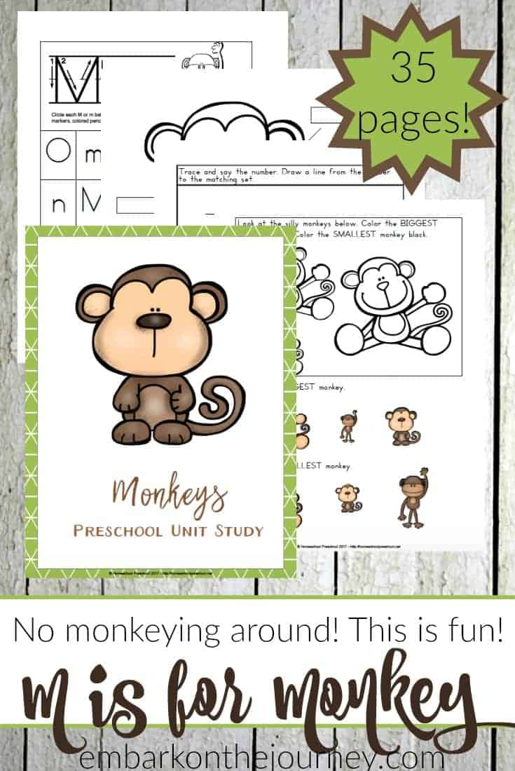This monkey unit study is designed with your preschooler in mind! It's packed with fun hands-on activities, snack ideas, arts and crafts, books, videos, and a 35-page printable learning pack! | @homeschlprek
