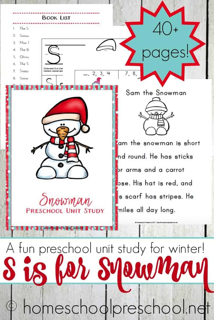 This snowman unit study is designed with your preschooler in mind! It's packed with fun hands-on activities, snack ideas, arts and crafts, books, videos, and a 40-page printable learning pack! | @homeschlprek