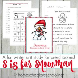 Preschool Snowman Printables and Activities