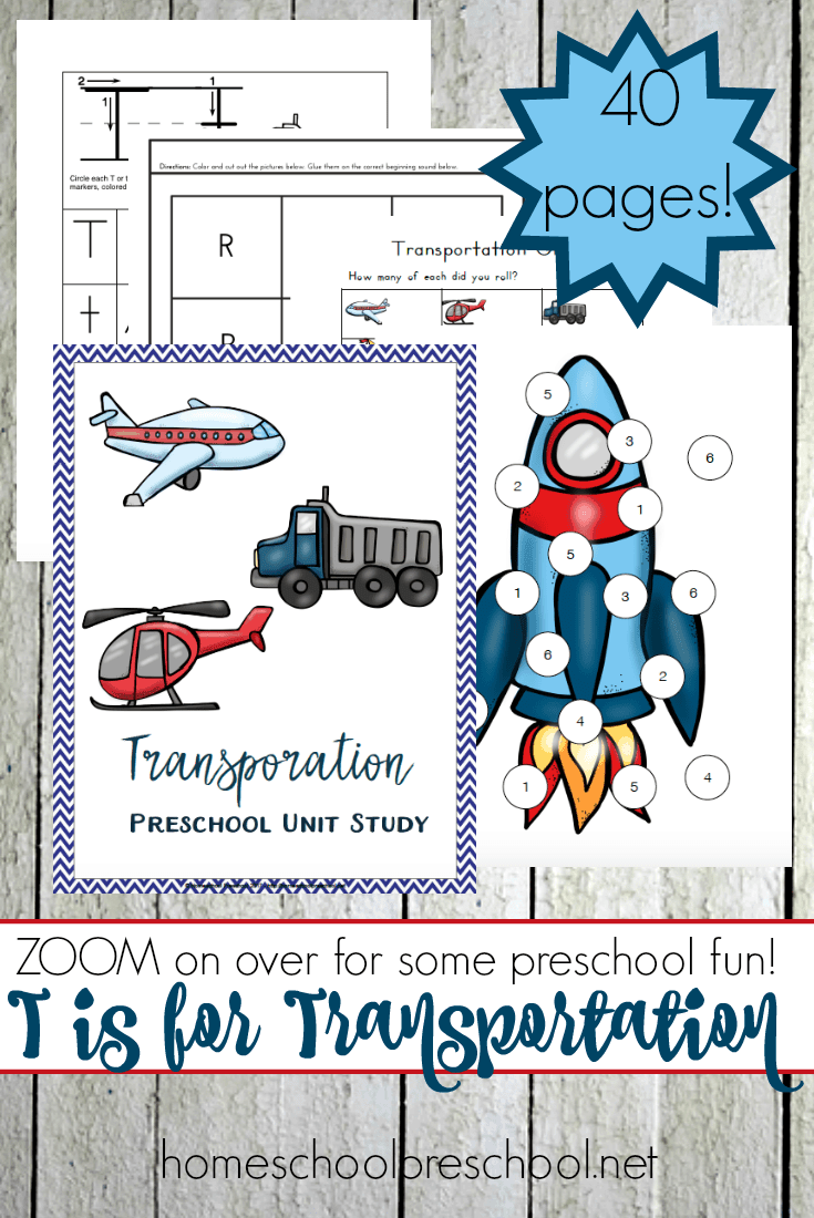 This transportation-themed unit study is designed with your preschooler in mind! It's packed with fun hands-on activities, snack ideas, arts and crafts, books, videos, and a 35-page printable learning pack! | @homeschlprek