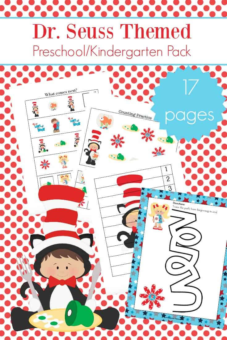 Little ones will love sitting down to learn with these printable Dr Seuss activities! Includes 17 pages of Dr. Seuss-themed learning fun!
