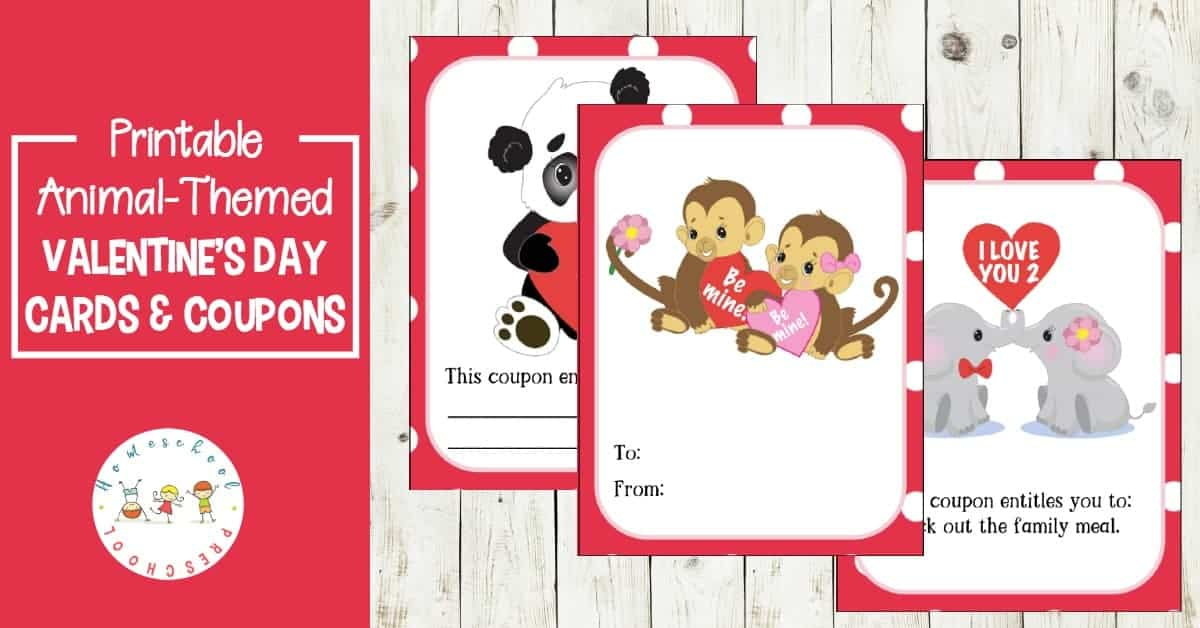 Jungle Love Animal Themed Printable Valentine Cards For Kids