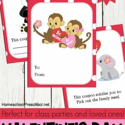 Animal-Themed Printable Valentines Day Cards for Kids