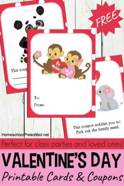 Animal-themed printable Valentines Day cards and coupons just in time for the big day! Print and pass these cards out to friends and family!
