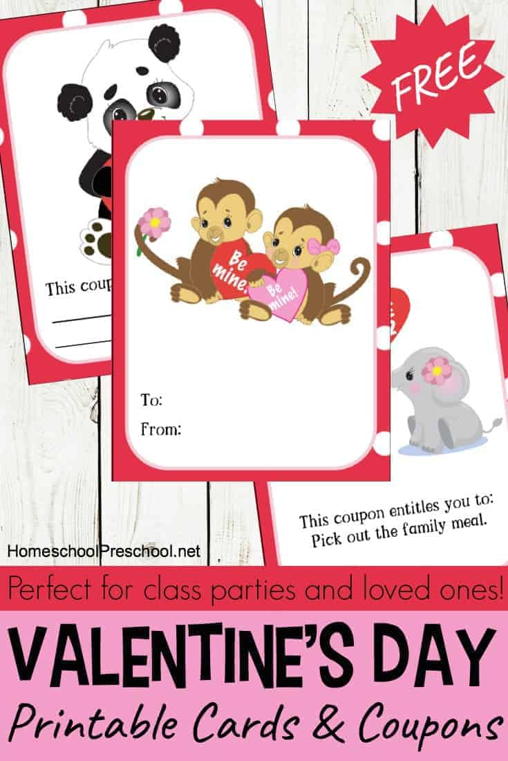 Animal-themed printable Valentine cards for kids just in time for the big day! Print and pass these cards out to friends and family!
