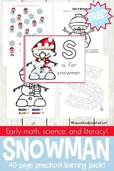 Winter is here, and it's the perfect time to add preschool snowman activities and printables to your homeschool preschool lessons!