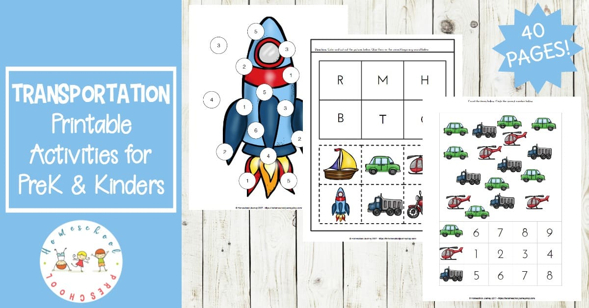 FREE transportation theme preschool printables! This worksheet pack is full of preschool math and preschool literacy activities. They're perfect for your homeschool preschool lessons!