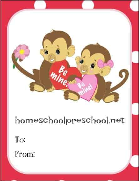 picture relating to Printable Valentines Day Cards for Kids titled Jungle Take pleasure in Animal Themed Printable Valentine Playing cards for Little ones