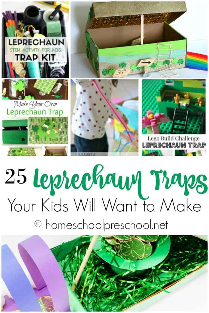 Help your little ones catch a leprechaun in their homemade leprechaun traps. Here are 25 ideas that are sure to inspire your kids! | @homeschlprek