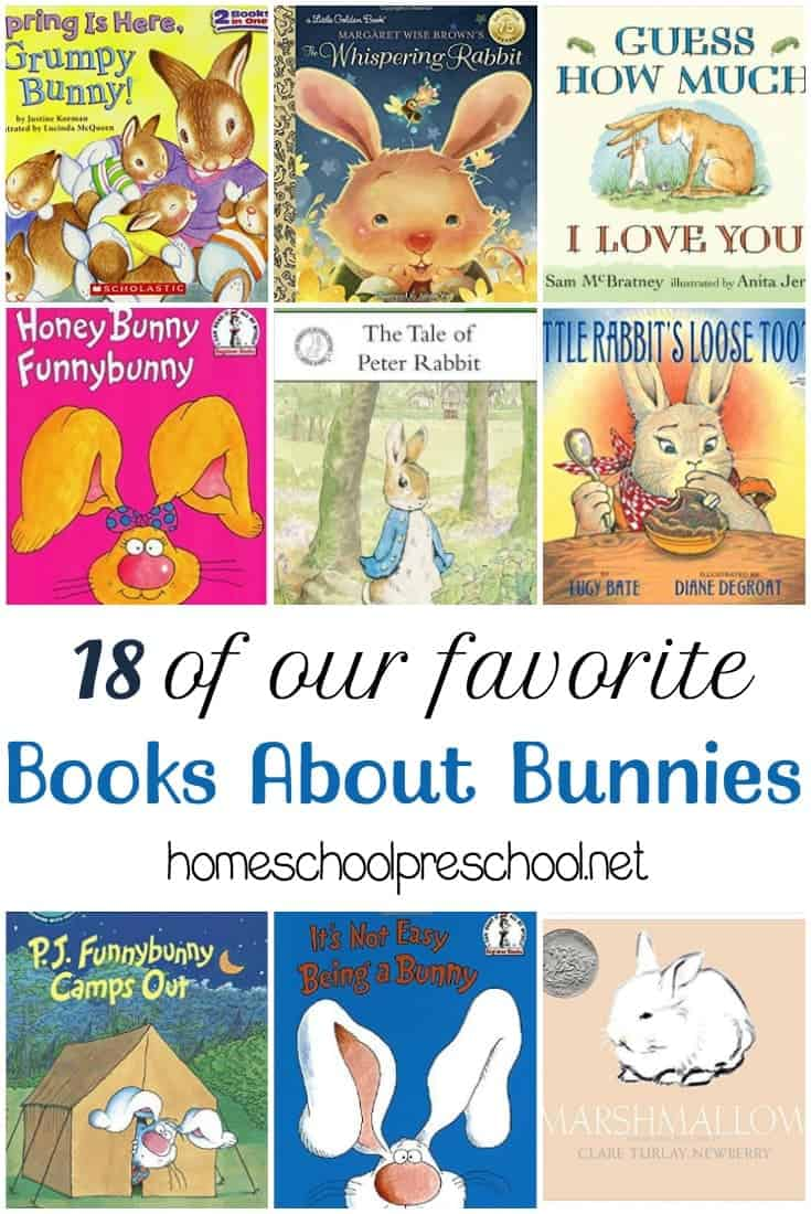 Fill your book basket this spring with this fun collection of children's books about bunnies! | homeschoolpreschool.net
