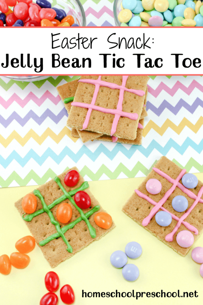 Kids will have fun creating, playing with, and then eating this tasty Easter snack! Jelly Bean Tic Tac Toe is a snack and a craft all in one.   homeschoolpreschool.net