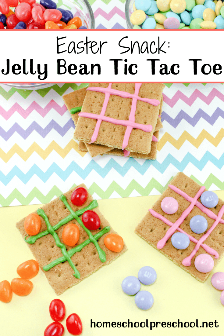 Kids will have fun creating, playing with, and then eating this tasty Easter snack! Jelly Bean Tic Tac Toe is a snack and a craft all in one. | homeschoolpreschool.net