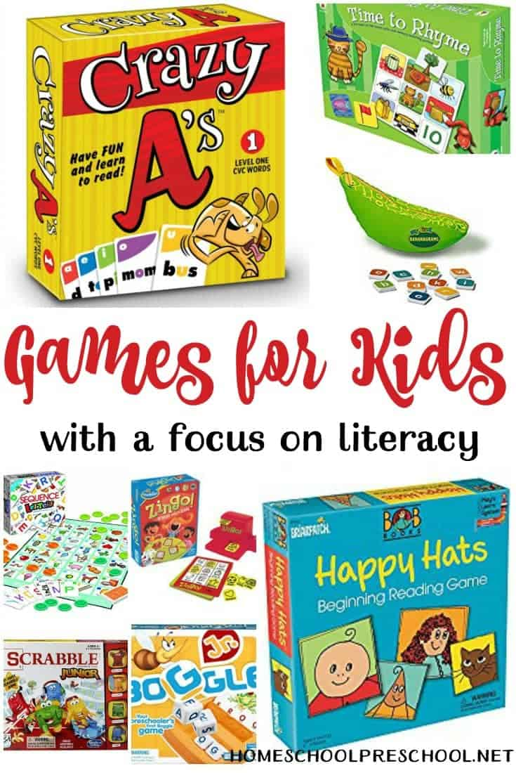 These literacy-focused preschool board games encourage learning through play. | homeschoolpreschool.net