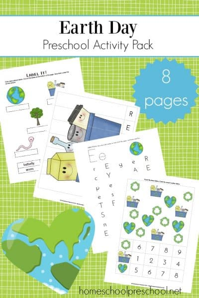 Enhance your Earth Day preschool celebrations with this mini-learning pack. Add these activities to your homeschool preschool lessons.