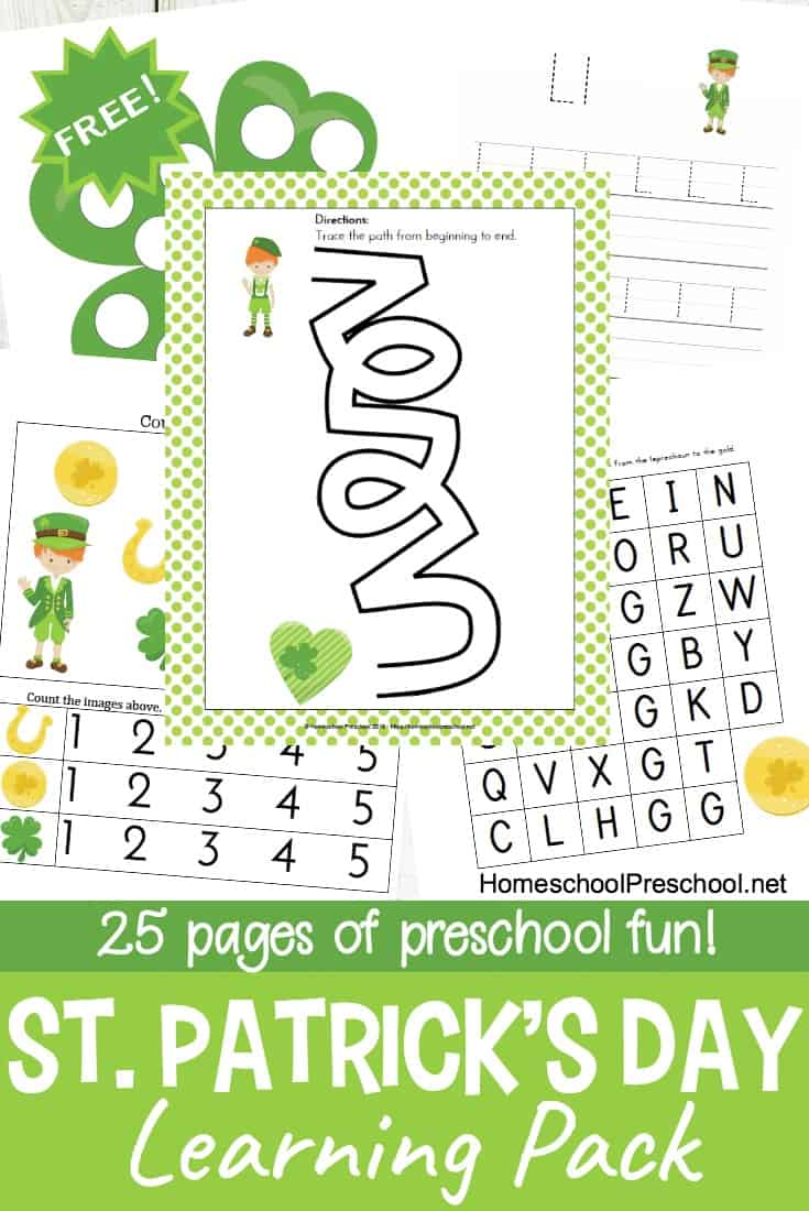 Printable St. Patrick\'s Day Preschool Learning Pack