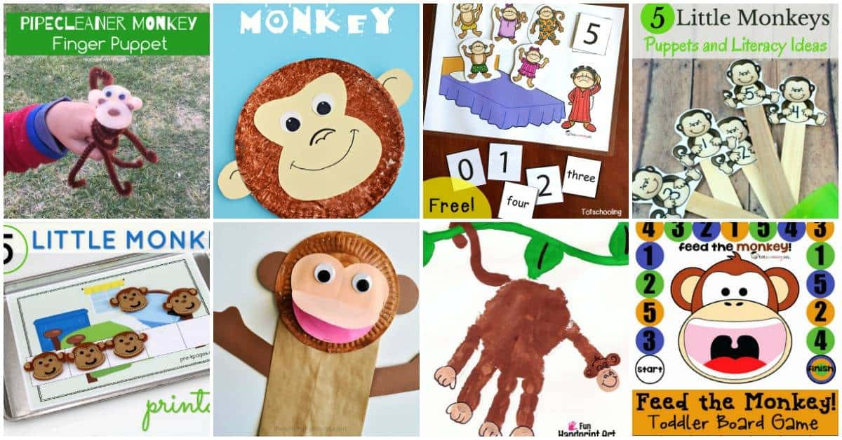 Your little monkey will flip for these monkey activities for preschoolers. These printables and crafts are a must for your homeschool preschool lessons.