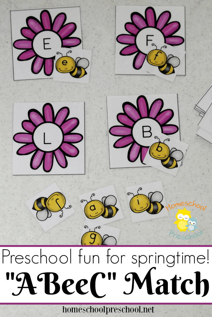 This preschool alphabet matching game is perfect for your spring activities! Your little learners will love helping each bee find its home!   homeschoolpreschool.net