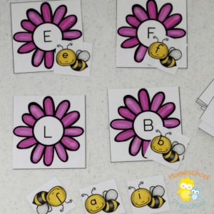 Bee Themed Preschool Alphabet Matching Game