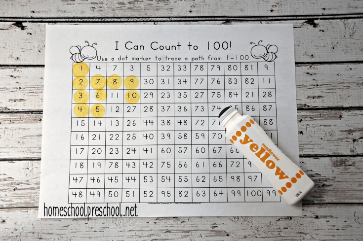 Young learners will trace a path from 1-100 on this fun bee-themed math activity page.