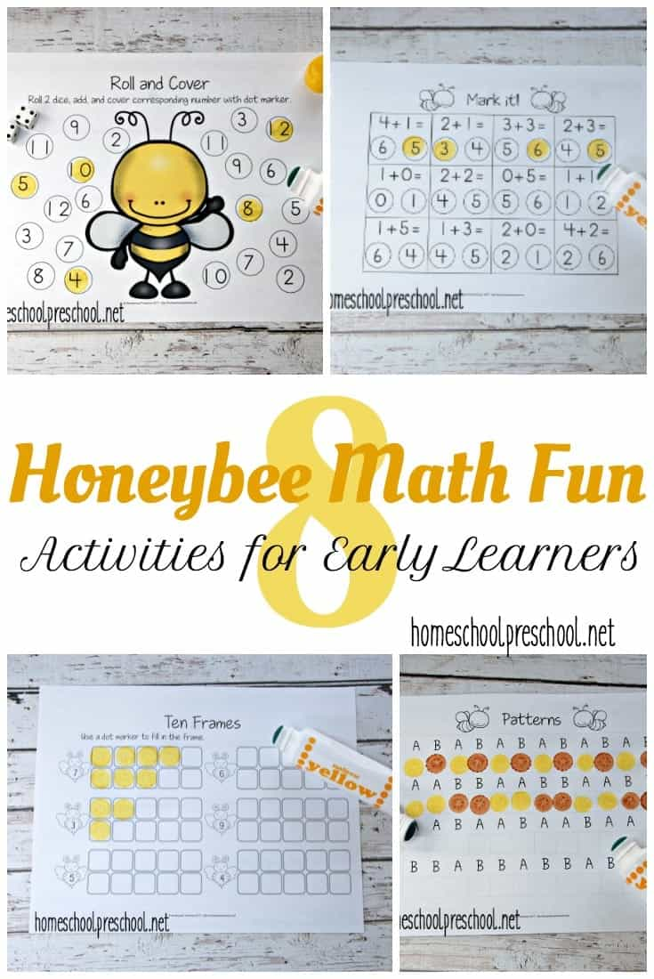 These honey bee math activities are perfect for your springtime homeschool lessons. Focus on counting, adding, and number identification with these printable pages.