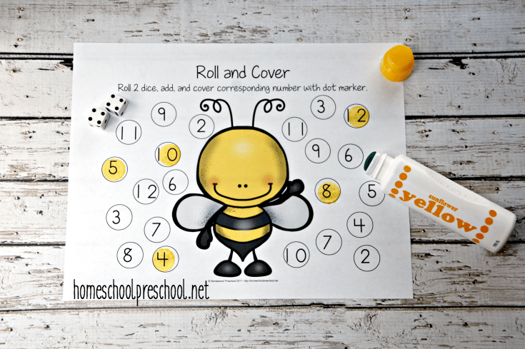 Little ones will practice addition and number identification in this fun roll and cover math activity.