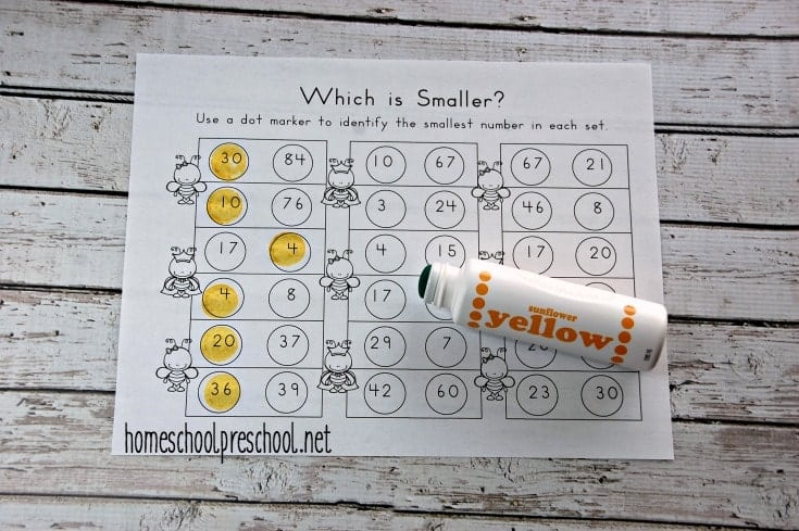 Students will identify the smaller of two numbers in this fun bee-themed math activity.