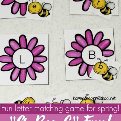 Bee Themed Letter Matching Games for Preschoolers