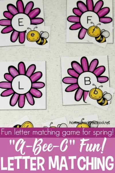 What's the buzz? This bee-themed alphabet match is just one of many letter matching games you can add to your homeschool preschool lessons this spring!