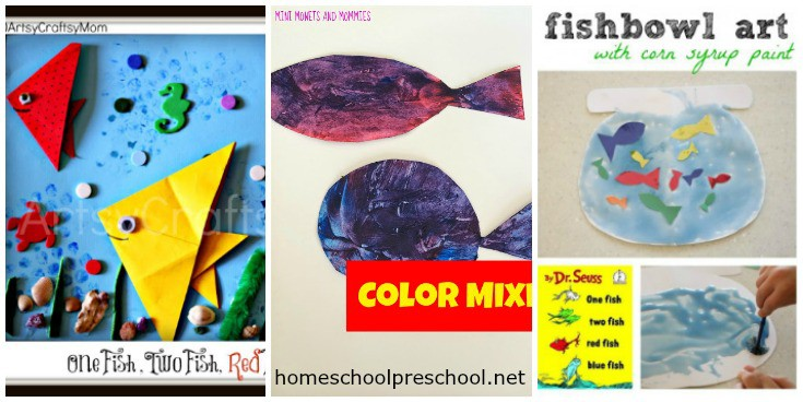 Your preschoolers are sure to love these One Fish Two Fish Red Fish Blue Fish activities! Each one features hands-on, low-prep Dr. Seuss-inspired fun.