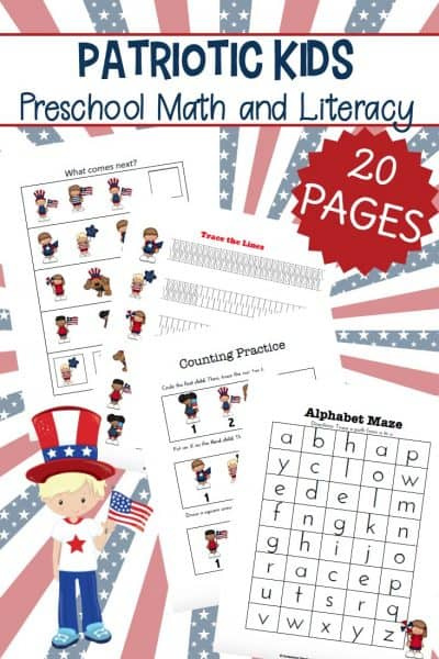 I've got a great new patriotic printable for tots and preschoolers. It's full of patriotic kids activities to engage young learners throughout the summer.