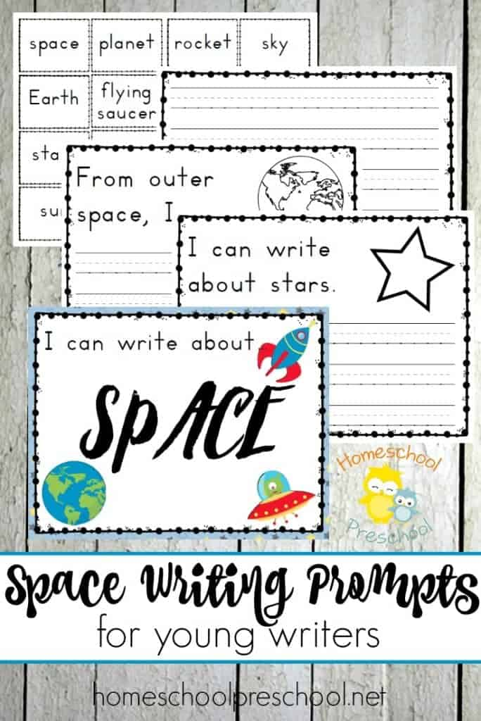 Get your preschoolers in the mood to write with preschool writing prompts that are out of this world! These space prompts are perfect for young writers.