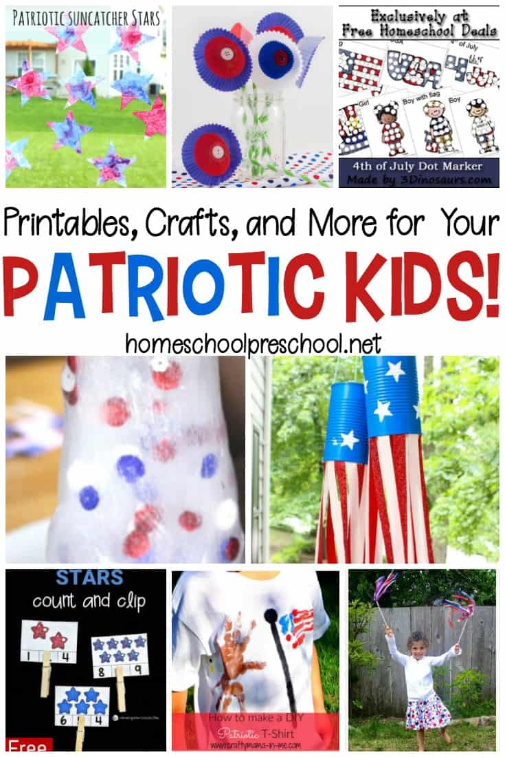 Your little ones will love learning about and celebrating Memorial Day and Fourth of July with this collection of fun patriotic kids activities.