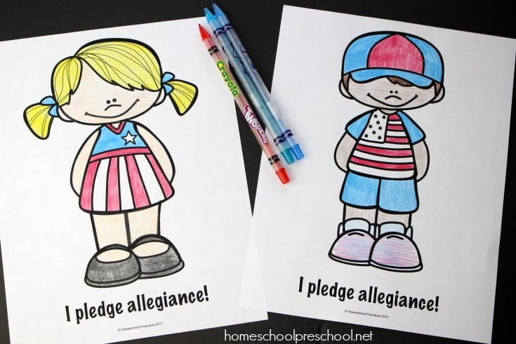 Pledge of allegiance worksheets for early learners for Pledge of allegiance coloring page