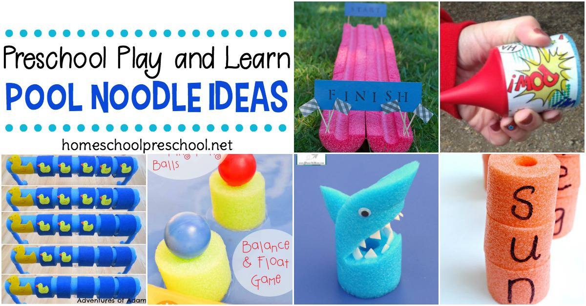 Don't let summer stop you from teaching your preschoolers. These pool noodle ideas are perfect for making your homeschool preschool lessons so much fun!