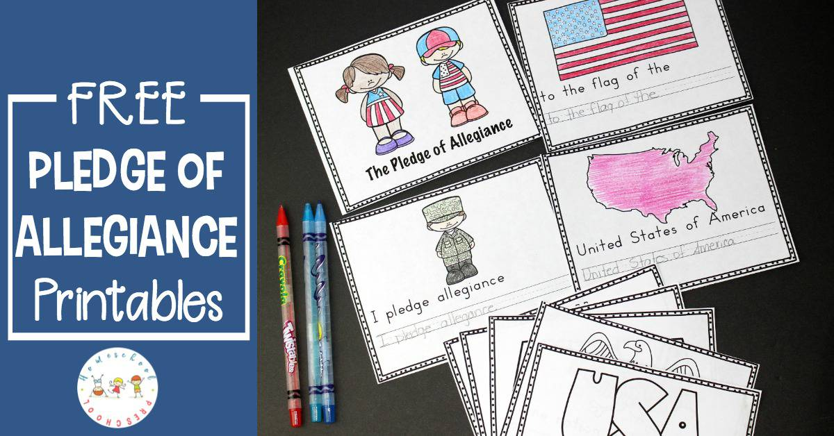 image regarding Pledge of Allegiance Printable known as No cost Preschool Pledge of Allegiance Printables