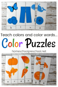 Early learners can focus on learning their colors and color words with this pack of printable Color Word Puzzles.