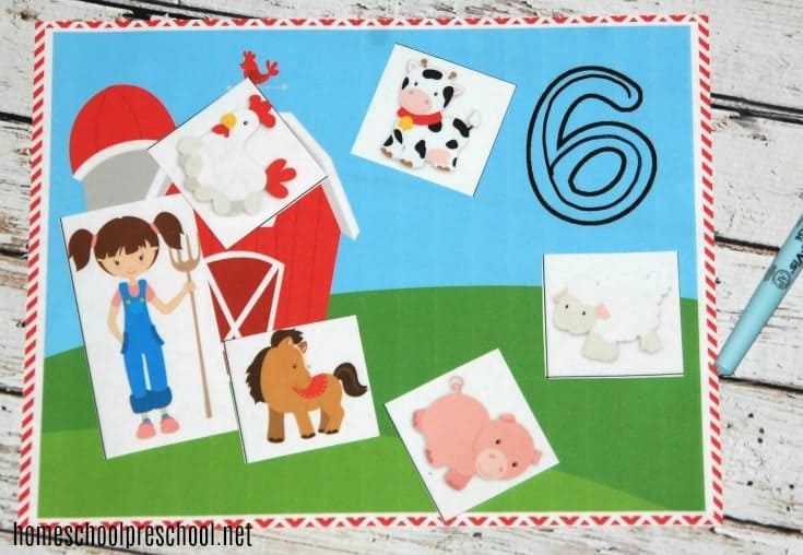 Farm-themed preschool counting mats come with farm counting mats for numbers 1 through 20. In addition there are three pages of barnyard cards.