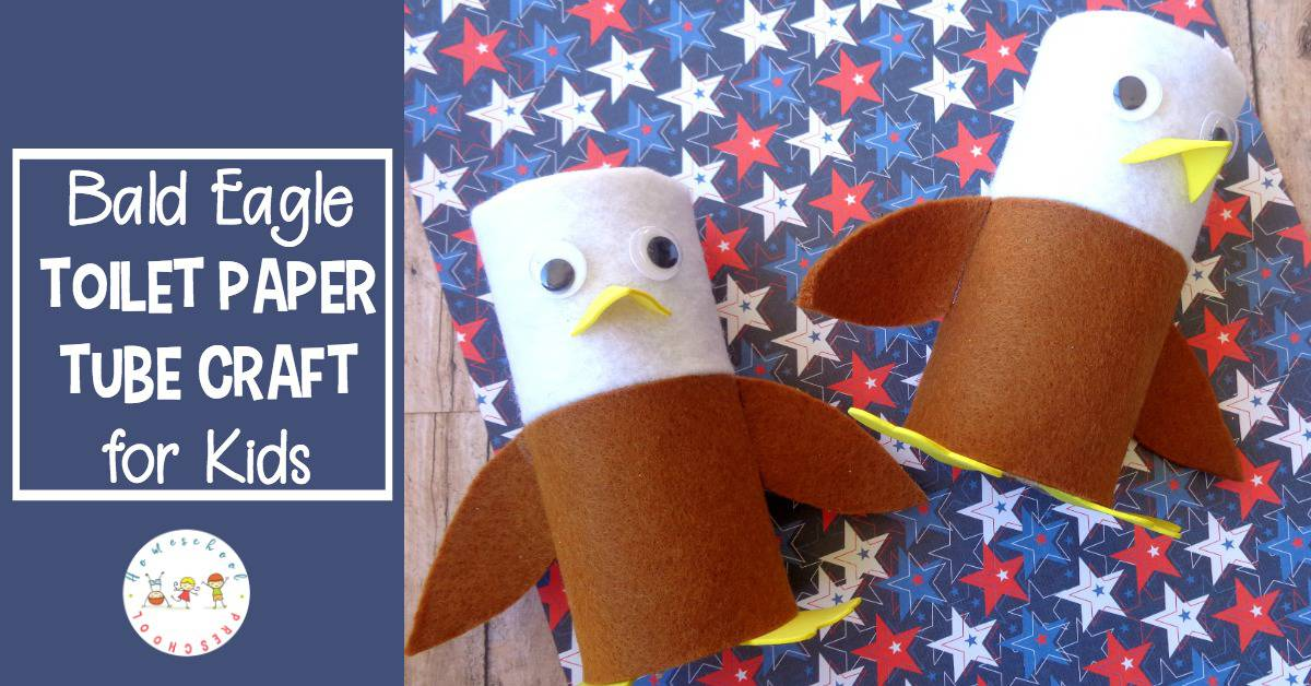 This bald eagle toilet paper roll craft combines items you likely have in your craft stash with a focus on our national bird!