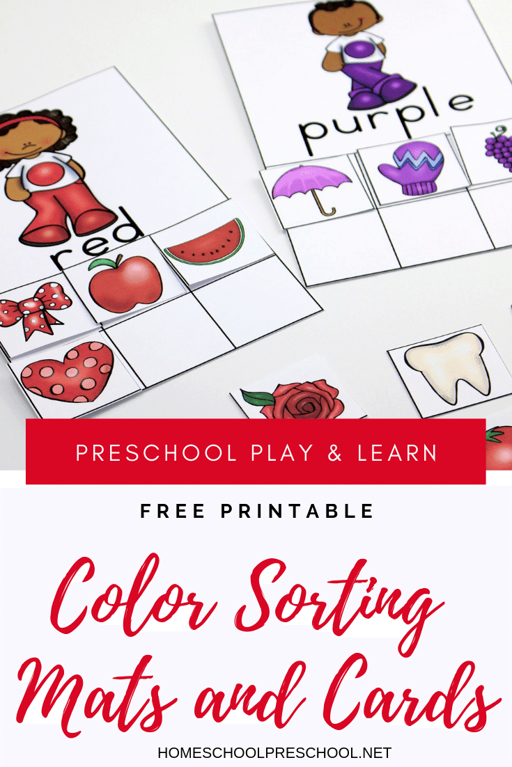 picture relating to Printable Colors called Printable Coloration Sorting Mats and Playing cards for Preschoolers